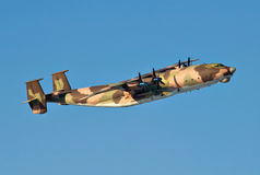 Military transport plane. The military transport plane in flight royalty free stock photos