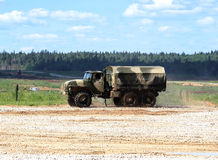 Military transport vehicle on a march Royalty Free Stock Image