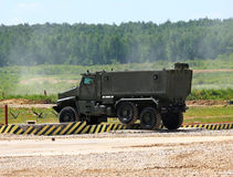 Military transport vehicle on a march Stock Image