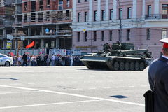 Military transportation on its back way after Victory Day Parade Stock Photos