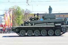 Military transportation on its back way after Victory Day Parade Stock Images
