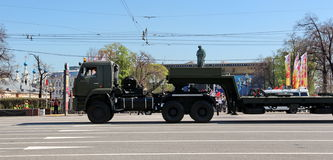 Military transportation on its back way after Victory Day Parade Royalty Free Stock Image