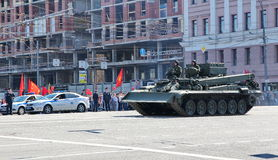 Military transportation on its back way after Victory Day Parade Royalty Free Stock Photo