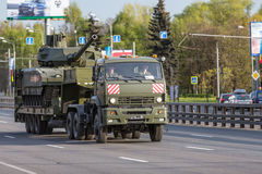 Military transportation after Victory Day Parade Stock Photos