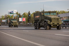 Military transportation after Victory Day Parade Royalty Free Stock Image