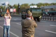 Military transportation after Victory Day Parade Royalty Free Stock Photos