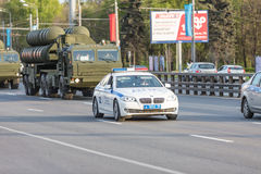 Military transportation after Victory Day Parade Stock Image