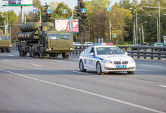 Military transportation after Victory Day Parade Royalty Free Stock Photography