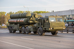 Military transportation after Victory Day Parade Stock Photography