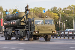 Military transportation after Victory Day Parade Royalty Free Stock Images