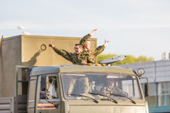 Military transportation after Victory Parade Royalty Free Stock Photo