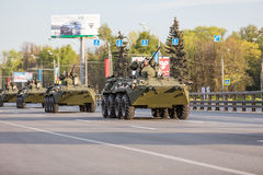 Military transportation after Victory Parade Royalty Free Stock Images