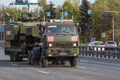 Military transportation after Victory Parade Royalty Free Stock Photography