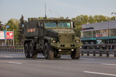 Military transportation after Victory Parade Stock Image