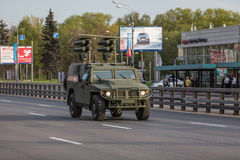 Military transportation after Victory Parade. Moscow, RUSSIA - MAY 9 2015: Military transportation on its back way after Victory Day Parade stock image