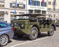 Military transporter in the Zurich old town Royalty Free Stock Photos