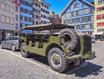 Military transporter in the Zurich old town Stock Photography