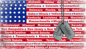 Military tribute on dog tags stock illustration