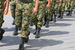 Military troop marching Stock Photography