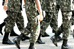 Military troops marching. Legs and feet of soldiers or military troops marching Royalty Free Stock Photos