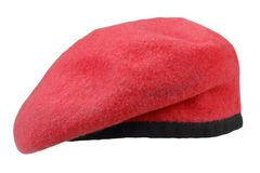 Military troops red beret. Isolated stock photo