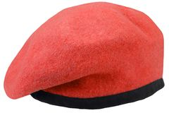 Military troops red beret. Isolated royalty free stock image