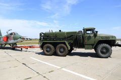 Military truck at aerodrome. View of russian military truck at aerodrome royalty free stock image