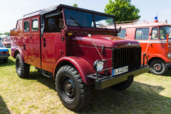Military truck by NATO Borgward B 2000A. PAAREN IM GLIEN, GERMANY - MAY 23, 2015: Military truck by NATO Borgward B 2000A. The oldtimer show in MAFZ royalty free stock photos