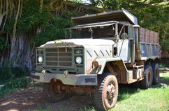 Military truck. Parked in the grass in the sun Royalty Free Stock Image
