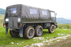 Military truck parked on hill Royalty Free Stock Photography