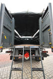 Military Truck rear. A photo taken on the rear empty compartment of a military truck Stock Photo