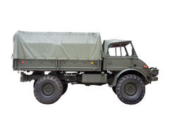 Military truck. Unimog military truck isolate from white background Royalty Free Stock Image