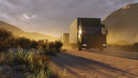 Military trucks on a desert road 2. Military motorcade on a dirt road in a canyon at evening time. Realistic 3D illustration was done from my own 3D rendering Stock Image