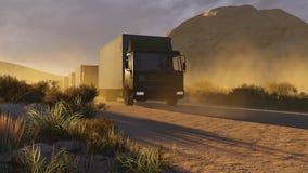 Military trucks on a desert road 1 royalty free illustration