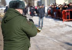 Military trumpeter at the parade. Winter. Russia Royalty Free Stock Images