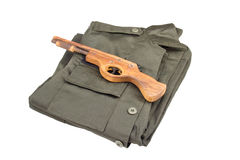 Military Uniform and gun isolated on white background Royalty Free Stock Images