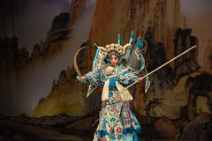 """Military uniform Mu Guiying- Beijing Opera"""" Women Generals of Yang Family"""". This opera tells a patriotic story how does an old woman of a hundred Stock Image"""