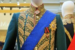 The military uniform of a Russian officer. The photo shows the uniform of high rank of the Russian Imperial army, 18-19 century. The insignia and the order of Royalty Free Stock Photography