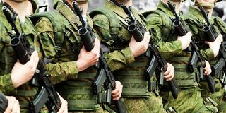 Military uniform soldier row Royalty Free Stock Images