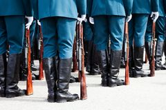 Military uniform soldier row Stock Photography
