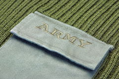 Military Uniform Sweater With Sign Army On The Pocket Stock Photography