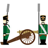 Military Uniforms Army artillery Russia in 1812. Gunners Russian army and weapons in the 1812 war. The illustration on a white background Royalty Free Stock Images