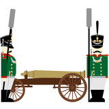 Military Uniforms Army artillery Russia in 1812-1. Gunners Russian army and weapons in the 1812 war. The illustration on a white background Royalty Free Stock Images