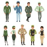 Military uniforms set, Military army officer, commander, soldier, , pilot, trooper, navy captain vector Illustrations on. Military uniforms set, Military army Stock Photo