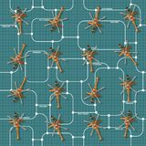Military unit on a grid background. Seamless pattern stock illustration