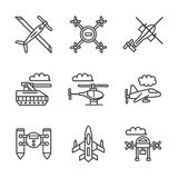 Military unmanned vehicles flat line icons Royalty Free Stock Photography