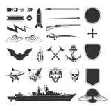 Military vector symbols mega set. Military symbols mega set. Army military, shield weapon, ship destroyer. Vector illustration Stock Images