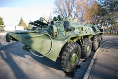 Military vehicle. Armored russian green military vehicle royalty free stock images