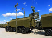 Military vehicle antennas. For field communication royalty free stock photo