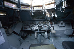 Military vehicle, inside view. Armored military vehicle, inside view stock images